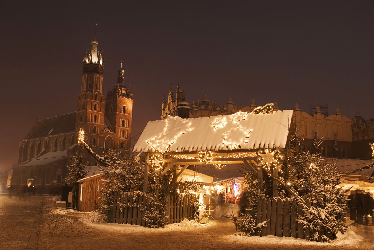 Krakow Main Square during the winter