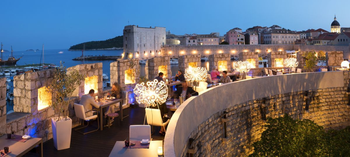Restaurant in Dubrovnik, Croatia with a beautiful view.